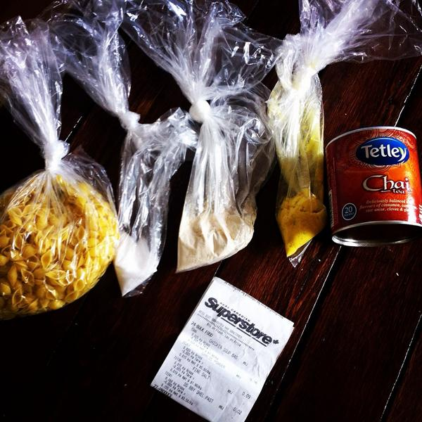 Photo of Jen's ingredients on day 3 of the 2014 Welfare Food Challenge