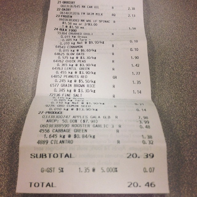 Photo of Kate Hoffard's grocery receipt