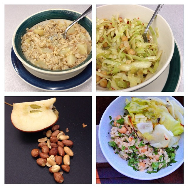 Photo of Kate Hoffard's meals on day 1 of the 2014 Welfare Food Challenge
