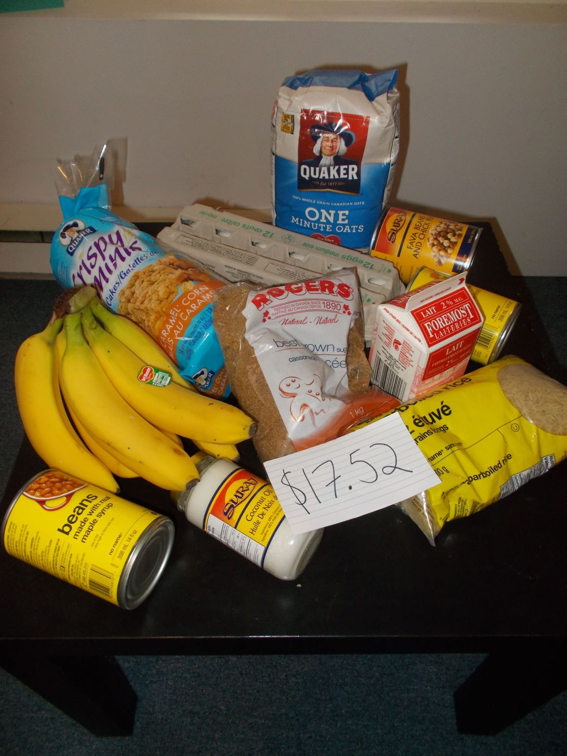 photo of Kate Kysow's 2014 welfare food challenge shopping