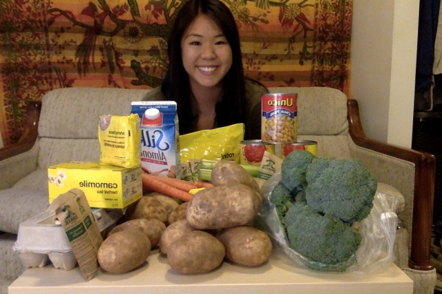 Photo of Samantha Truong and her groceries for the week