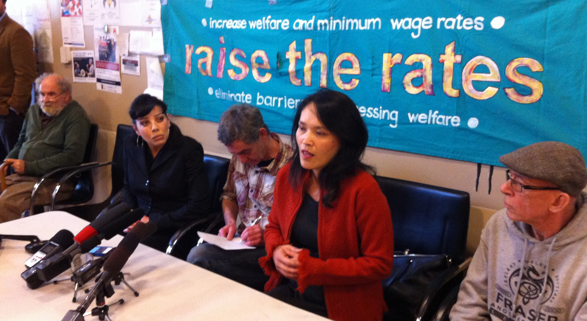 Bif Naked and Jenny Kwan with members of Raise the Rates Coalition at press conference at Aboriginal Front Door on Oct, 27th to help promote the 4th Annual Welfare Food Challenge