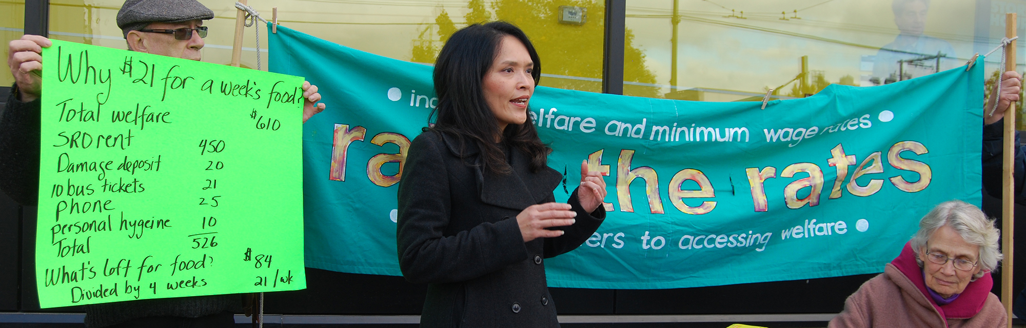Jenny Kwan speaks at the Launch of the 4th Annual Welfare Food Challenge