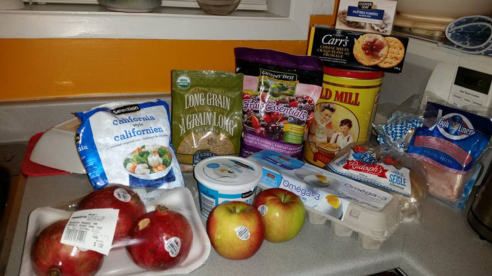 Photo of the groceries bought by Jennifer Chieh Ho for the 2015 Welfare Food Challenge