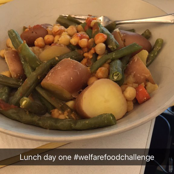 Lunch for Lindsay Bissett on Day 1 of the Welfare Food Challenge