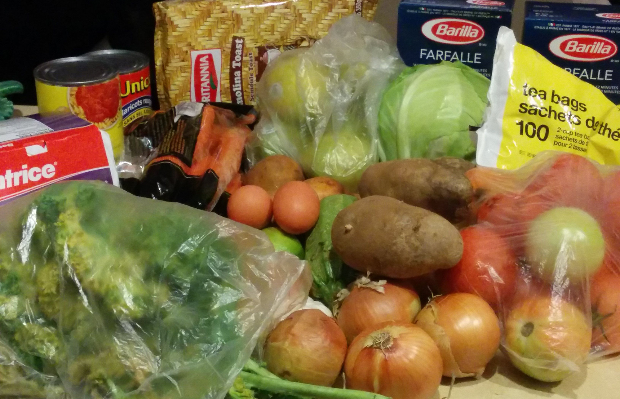 Food that Macarena Cataldo bought for the 2015 Welfare Food Challenge
