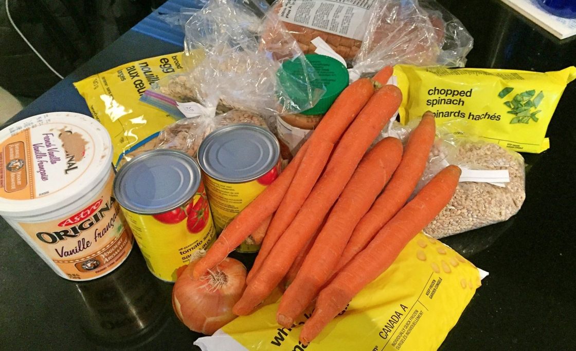 Photo of food that Melanie Steele bought for the 2015 Welfare Food Challenge