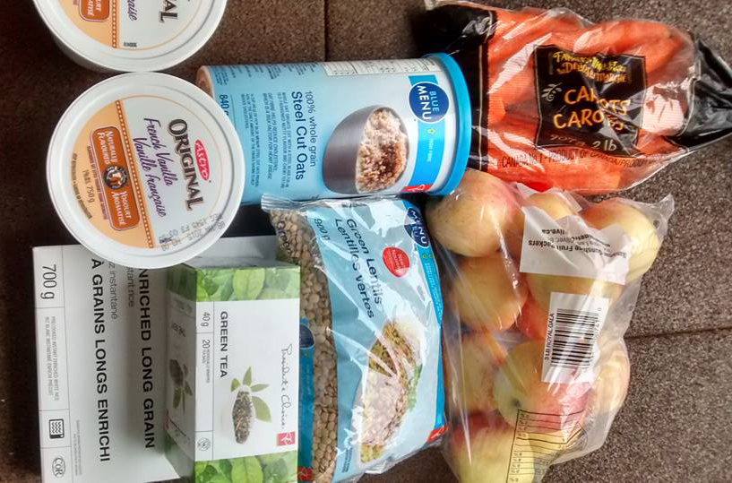 Food that Oriana bought for the 2015 Welfare Food Challenge