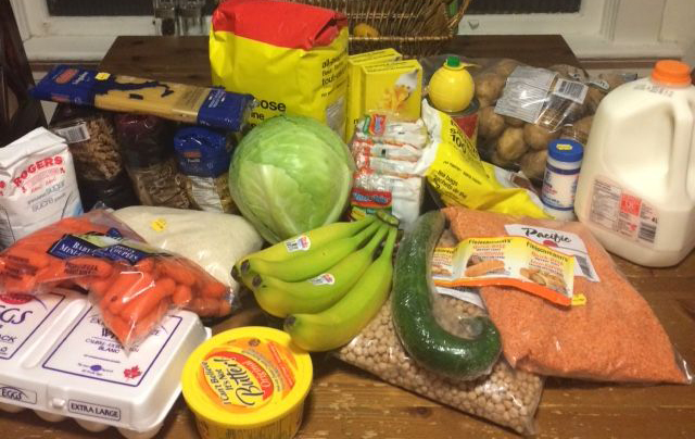 Food bought by the Stott Family for the 2015 Welfare Food Challenge