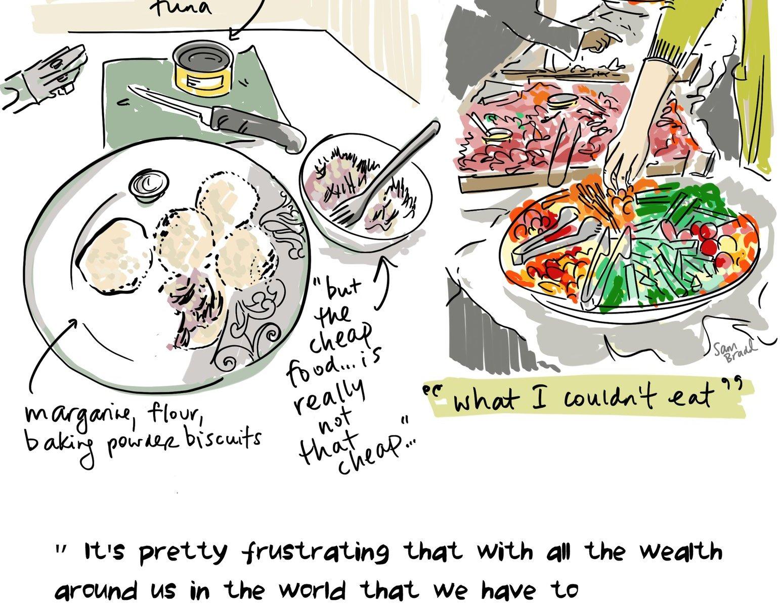 Sam Bradd illustrates Andrea Reimer's Day 3 of the 2016 Welfare Food Challenge