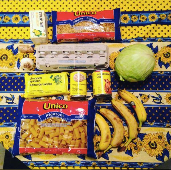 Photo of groceries bought for $18 for 1 week
