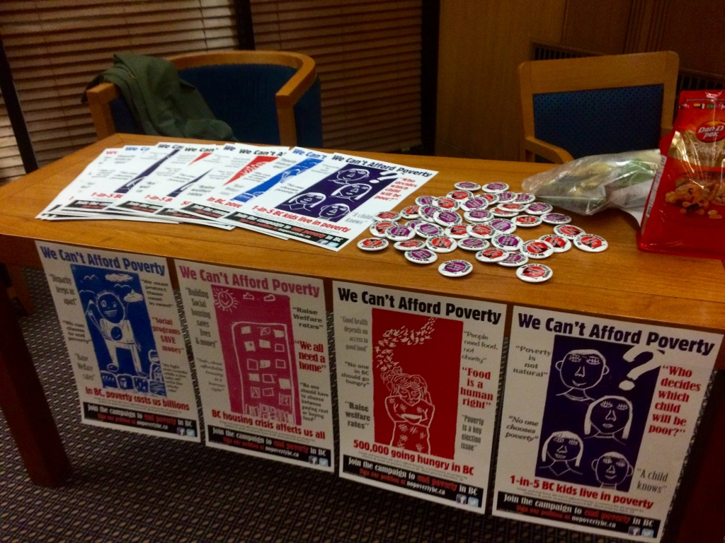 Photo of posters and buttons from the 'We Can't Afford Povery' Campaign. By Tamara Herman.