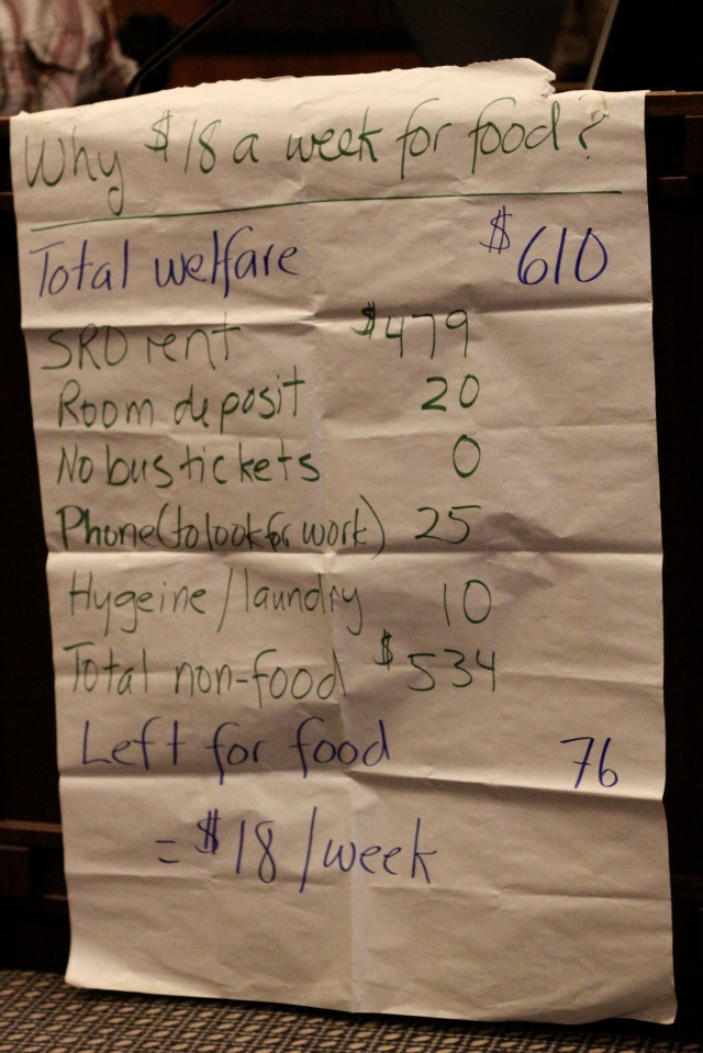 Photo of what a welfare paycheque goes towards and why $18 per week for food. Photo by Tamara Herman.