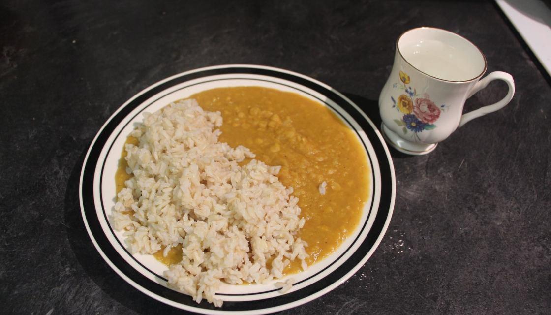 Photo of dahl and rice that Alice Wyche ate for dinner on day 1 of the 2017 Welfare Food Challenge