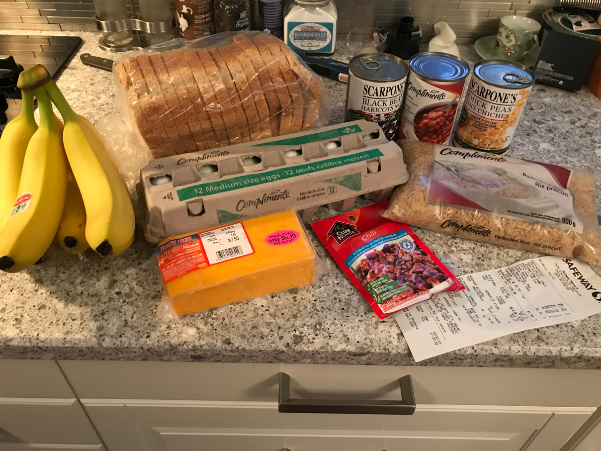 Groceries that Stephanie bought for the 2017 Welfare Food Challenge